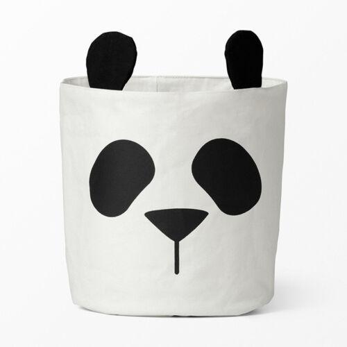 Panda toile rangement bin, jouet sac, panier, moderne, coton, nappy bin, monochrome