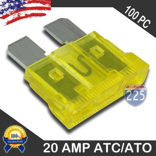 100 Pack 20 AMP ATC//ATO STANDARD Regular FUSE BLADE 20A CAR TRUCK BOAT MARINE RV