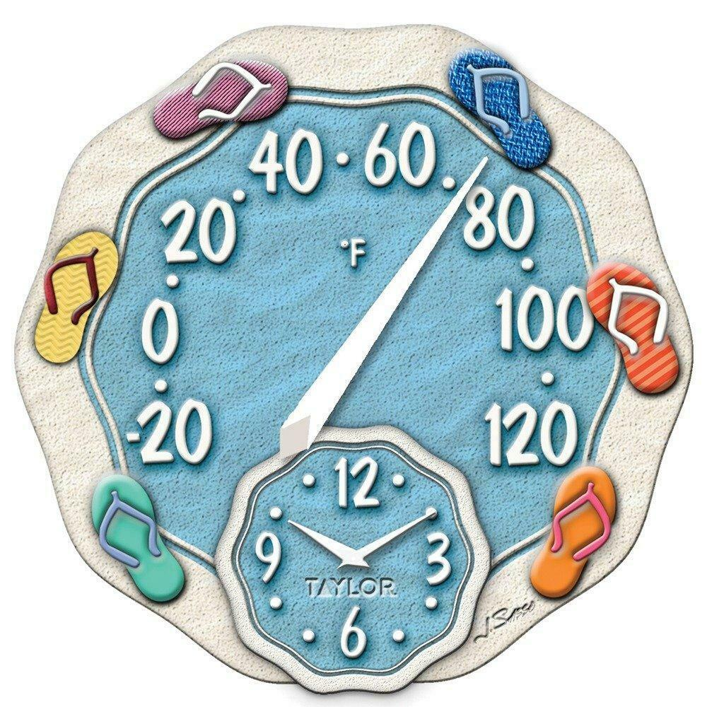 TAYLOR 91620T 12-Inch Sandals Thermometer with Clock