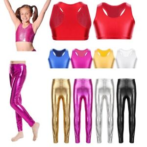Kids Girls Shiny Stretch Dance Leggings Pant Metallic Crop Top Bra Top Costumes