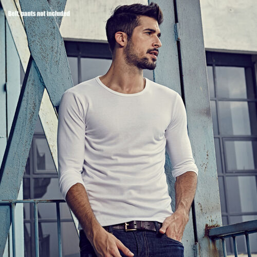 Mens Underwear Round Neck Long Sleeve T-shirt Pure Color Basic Slim Top Tee