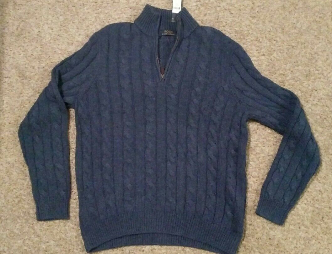 Mens Polo Ralph Lauren Size XL Silk Cable Knit Derby bluee 1 4 Zip Sweater