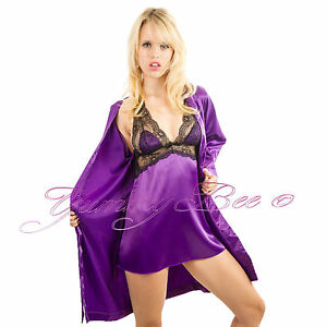 Yummy-Bee-Sexy-Satin-Babydoll-Robe-Chemise-Size-8-14-Dressing-Gown-Lace-Lingerie
