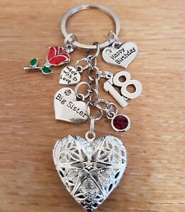 Personalised HAPPY BIRTHDAY Gifts Charm Keyring 18th 21st 30th 40th Gift for her