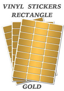 Self Adhesive Waterproof Vinyl Labels size 25mm x 12mm 50 Gold  Rectangles
