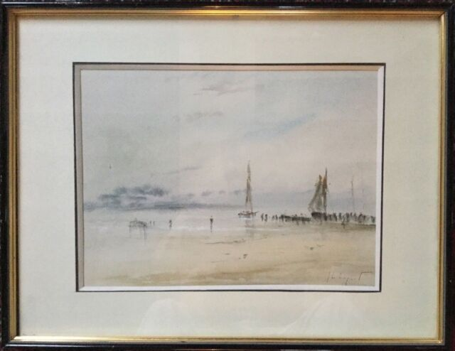 Jean-Michel NOQUET 1950-2014.Bateaux à marée basse.Aquarelle.SBD.20x27.Cadre.