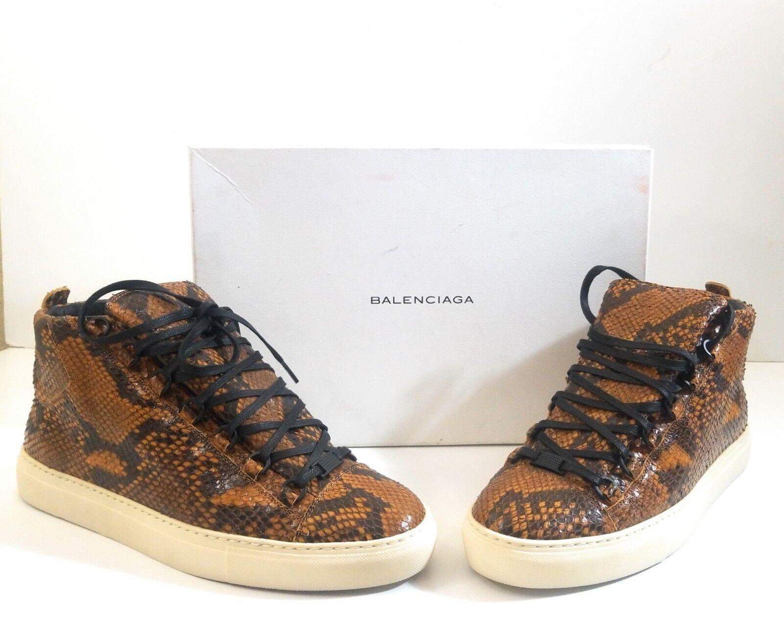 Balenciaga Pelle S.Gomm Veau Facon Python Men High Top Fashion Sneakers Size 44