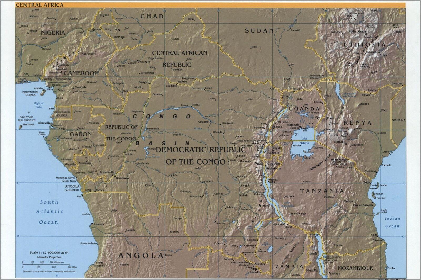 Poster, Molte Misure; Misure; Misure; Cia Mappa Del Centrale Africa 2000 c6285e