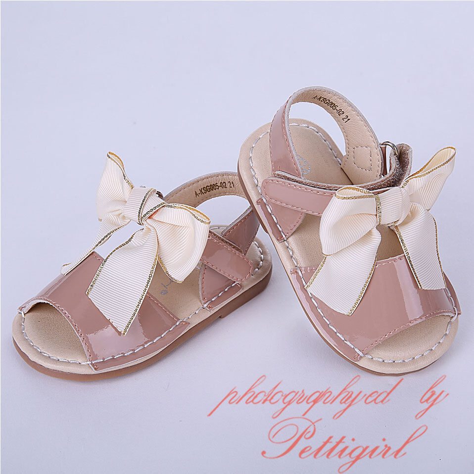 Baby Girls Kid Spanish Bow Sandals Flat Heels Toddler Summer Wedding Party Shoes