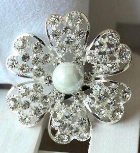 Brooch-Flower-Rhinestone-Faux-Pearl-Silver-Plated-Flower-Brooch-Bouquet-Wedding