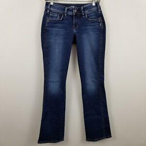 Silver-Suki-Slim-Boot-Cut-Women-039-s-Dark-Wash-Blue-Jeans-Size-27-x-31