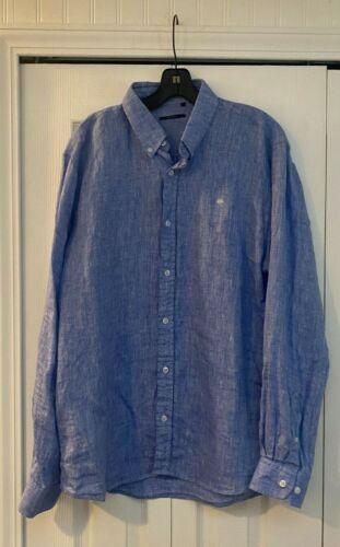 Azulu Blue White Linen Shirt L
