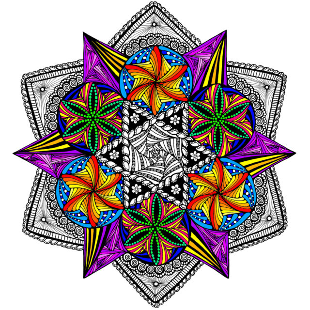Bright Lights Mandala Large 22x22 Inch Coloring Poster