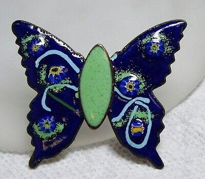 Gorgeous Vintage Green & Blue Baked Enamel on Copper Butterfly Pin Brooch