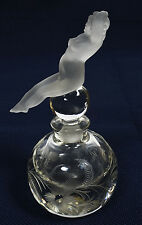 Old Art Deco Glass Perfume Bottle Frosted Female Recumbent Nude Figural Stopper