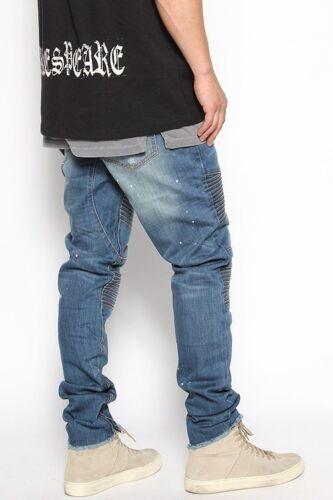Men/'s Light Vintage Wash Denim Zipper Ankle Skinny Biker Jeans