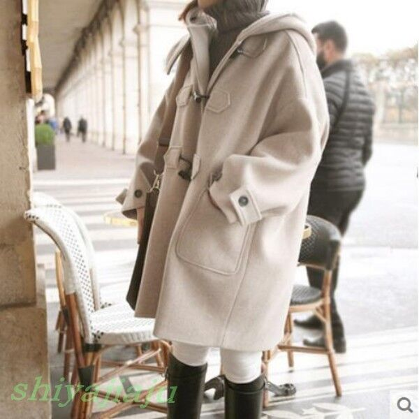 2017 Womens Warm Hooded Wool Overcoat Winter Students Girls Girls Girls Loose Casual Coat 857e87