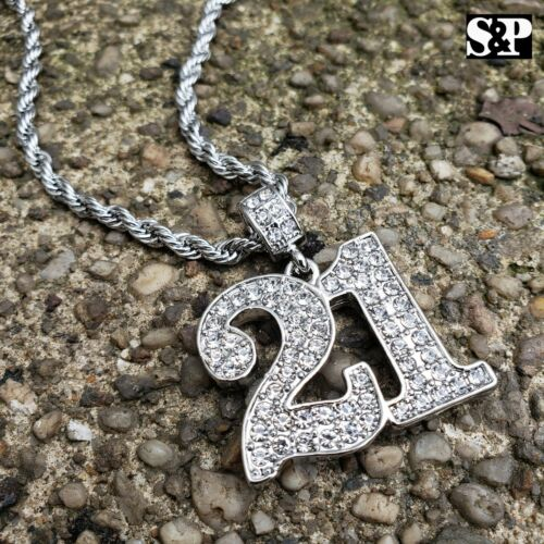 """Hip Hop Iced out Lab Diamonds Savage 21 Pendant /& 4mm 24/"""" Rope Chain Necklace"""