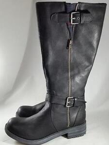 Women-039-s-UNIONBAY-SAMUEL-U-Black-Knee-High-Zip-Up-Biker-Casual-Dress-Boots-New