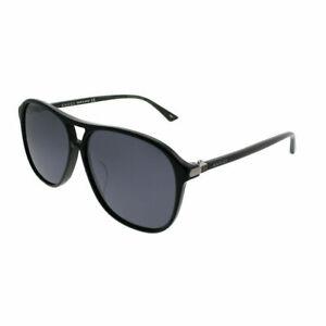 5405d811b2922 Gucci GG0016SA 001 Asian Fit Black Plastic Aviator Sunglasses Silver ...