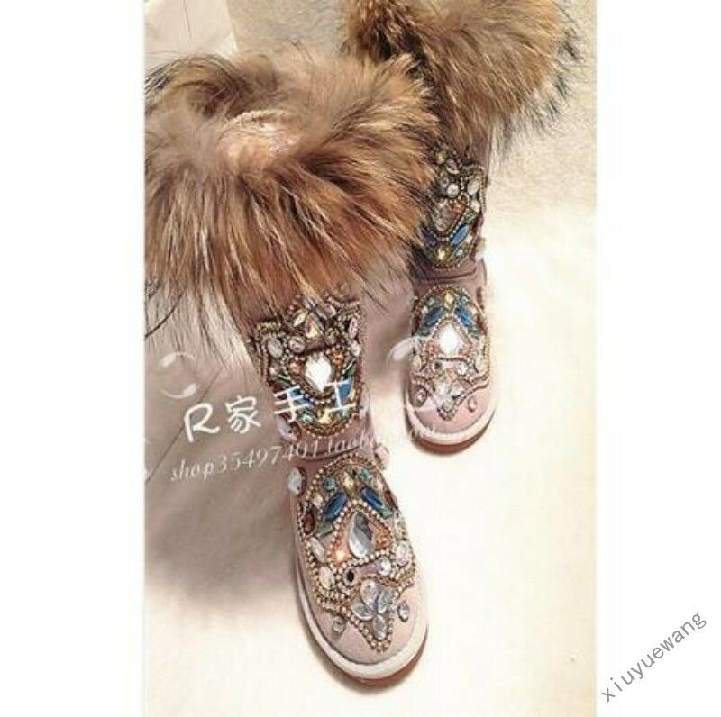Womens Fur Winter Thicken Warm Knee Snow Boots rhinestone Shoes Size 4.5-11