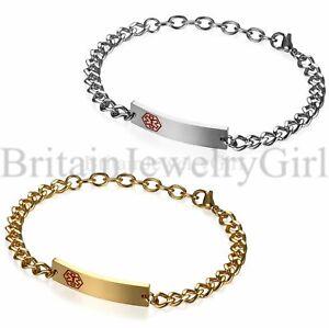 Men-Women-Medical-Alert-ID-Stainless-Steel-Wrist-Link-Bracelet-Free-Engraving