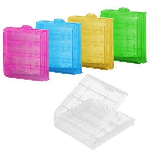 5 x Caja de Almacenamiento Plastico Duro para Bateria AA / AAA (el color pu U2G7