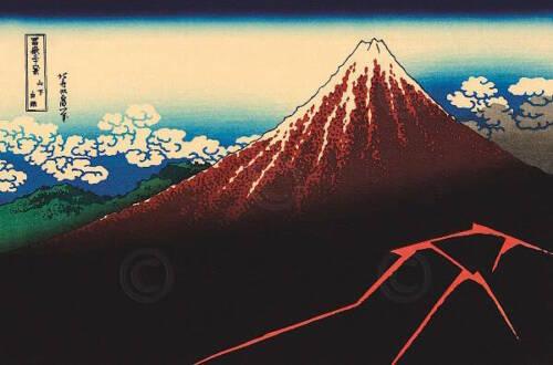 Lightning Below the Summit Katsushika Hokusai Asian Mountain Print Poster 26x18
