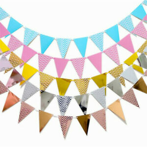 5M-Flags-Paper-Glitter-Gold-Bunting-Banner-Garland-Wedding-Party-Hanging-Decor