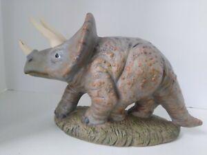 TRICERATOPS Ceramic Figure  Signed 1991 Extinct Fossil Dinosaur Paleontology