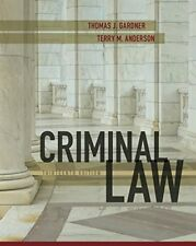 Criminal Law by Terry M. Anderson and Thomas J. Gardner (2017, Hardcover)