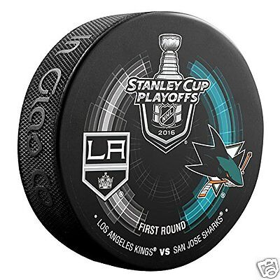LOS ANGELES KINGS vs SAN JOSE SHARKS 2016 Playoffs NHL DUELING LOGO PUCK NEW