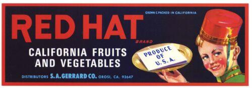 RED HAT Brand Orosi California **AN ORIGINAL VEGETABLE CRATE LABEL**