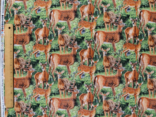 FAT QUARTER  WHITE TAIL DEER WILD WINGS CRADLE ROCK  100/% COTTON FABRIC SPRINGS