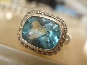$825 David Yurman Argent Sterling Topaze Bleue Diamant Noblesse Anneau-afficher Le Titre D'origine Design Moderne