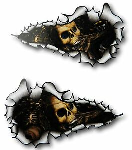 XXL LONG Handed Pair Ripped Torn Metal Rip With Evil Skull Inside - Car sticker designripped torn metal design with evil eye monster motif external