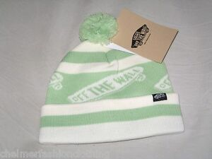 BNWT - VANS Off The Wall Striped Bobble Beanie Hat Mint Green White ... 0f67fbd09ce