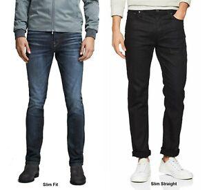 Da-Uomo-Slim-Fit-Jeans-in-Denim-Jack-e-Jones-tim-Pantaloni-in-Denim-Blu-e-Nero
