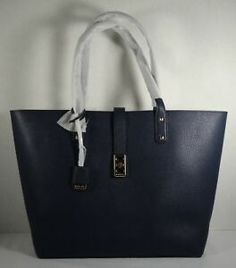 0a153c990d1f Image is loading Michael-Kors-Karson-Navy-Pebbled-Leather-Large-Carryall-