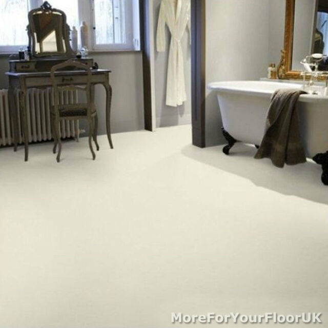 Plain White Vinyl Flooring - Kitchen Bathroom Lino, 3m