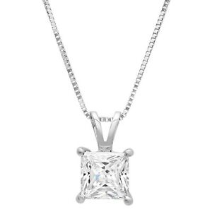 2ct-Princess-Cut-Solitaire-Solid-14k-White-Gold-Pendant-Necklace-16-034-Chain