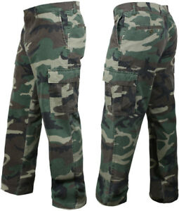 Woodland Camo Vintage Cargo BDU Pants Relaxed Military Tactical Army ... 35c2209b63b