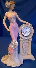 JULIANA VINTAGE ROSE CLOCK PRETTY LADY FIGURE MODEL IN PINK DRESS EVELINE 58443