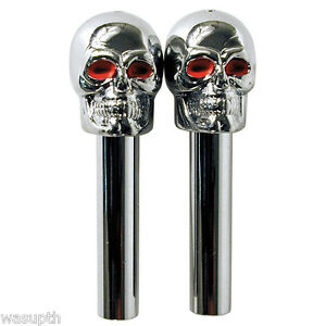 car truck Door Lock Knob Skull bone cover 2 red eye ghost Chrome ...