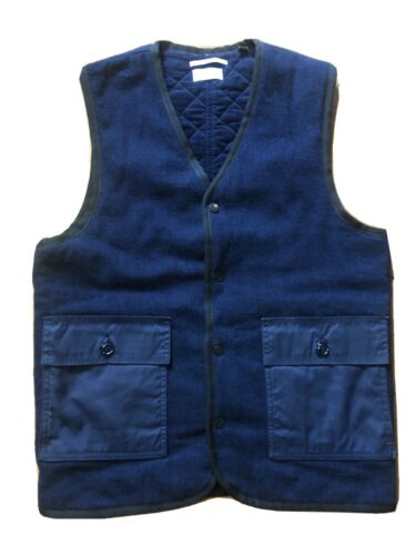 Apolis Indigo Wool Quilted Vest Size Small Made in