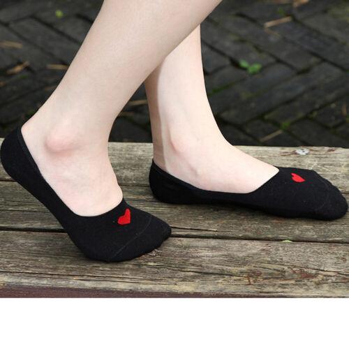 Women Socks Love Heart Cotton Invisible Shallow Mouth Boat Socks Non-slip Socks#