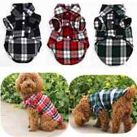 New Small Pet Dog Puppy Plaid T Shirt Lapel Coat Cat Jacket Clothes Costume Tops