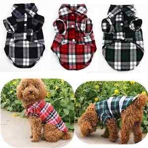 New-Small-Pet-Dog-Puppy-Plaid-T-Shirt-Lapel-Coat-Cat-Jacket-Clothes-Costume-XS-L