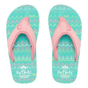 6fb43e7e609d Image is loading Animal-Girls-Swish-AOP-Flip-Flops-Turquoise-Green