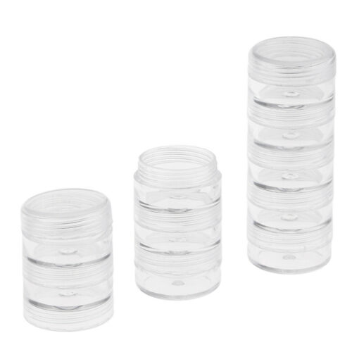 Round Stackable Beads Box Jar Makeup Sample Organizer for Jewellery 77x27mm